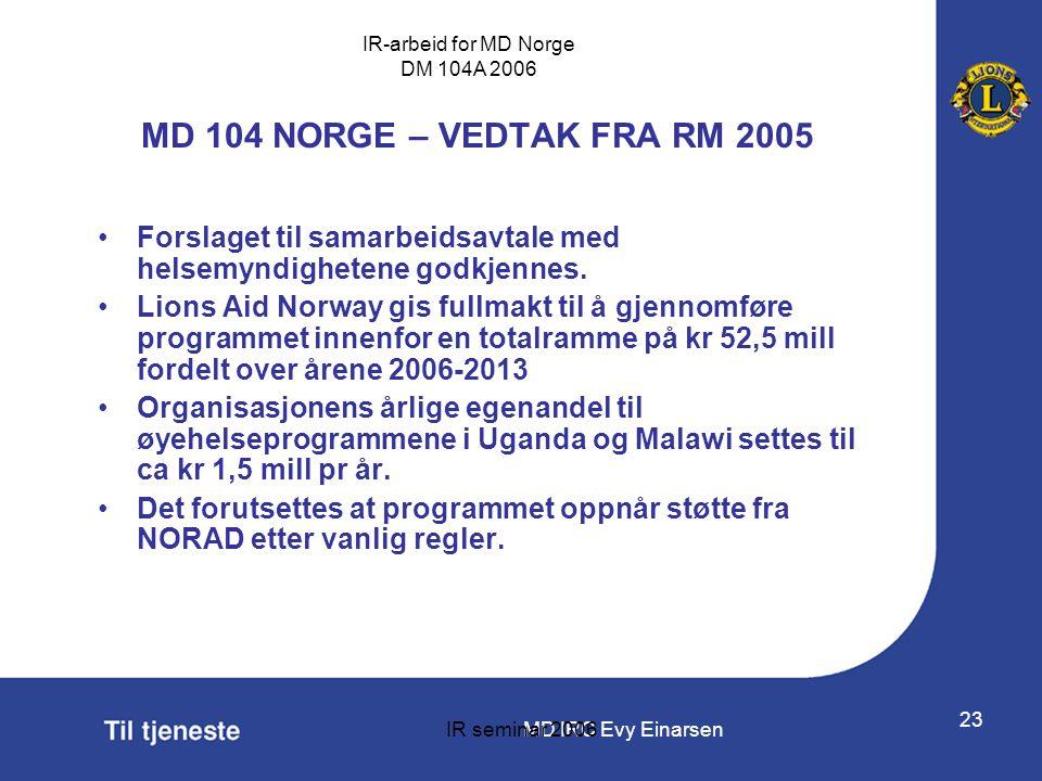 MD IRC Evy Einarsen IR-arbeid for MD Norge DM 104A 2006 IR seminar 2006 23 MD 104 NORGE – VEDTAK FRA RM 2005 •Forslaget til samarbeidsavtale med helse