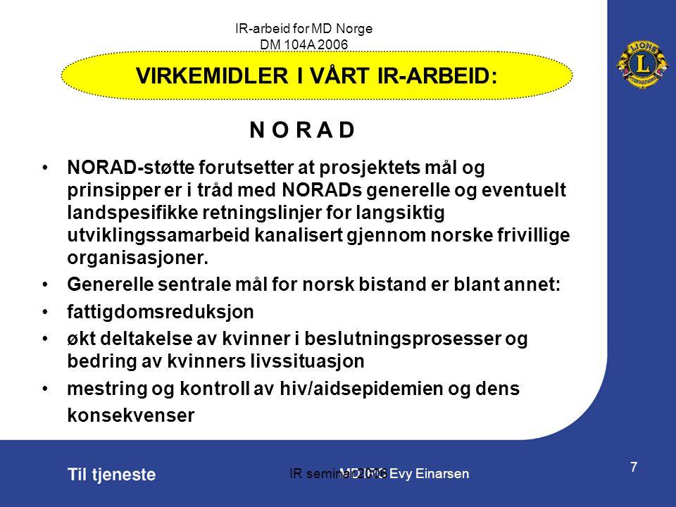 MD IRC Evy Einarsen IR-arbeid for MD Norge DM 104A 2006 IR seminar 2006 7 •NORAD-støtte forutsetter at prosjektets mål og prinsipper er i tråd med NOR