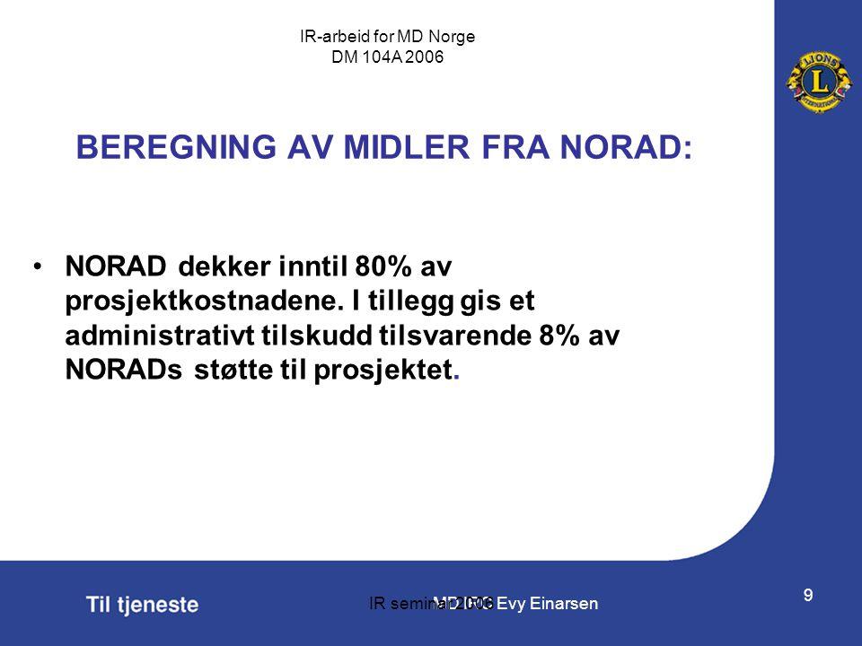 MD IRC Evy Einarsen IR-arbeid for MD Norge DM 104A 2006 IR seminar 2006 9 BEREGNING AV MIDLER FRA NORAD: •NORAD dekker inntil 80% av prosjektkostnaden