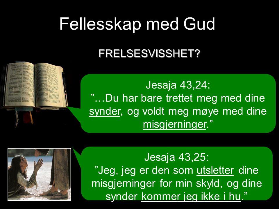 Fellesskap med Gud Jesaja 43,24: …Du har bare trettet meg med dine synder, og voldt meg møye med dine misgjerninger. Jesaja 43,25: Jeg, jeg er den som utsletter dine misgjerninger for min skyld, og dine synder kommer jeg ikke i hu. FRELSESVISSHET