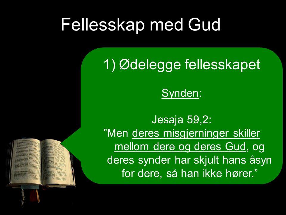 Fellesskap med Gud 1)Ødelegge fellesskapet Synden: Jesaja 59,2: Men deres misgjerninger skiller mellom dere og deres Gud, og deres synder har skjult hans åsyn for dere, så han ikke hører.