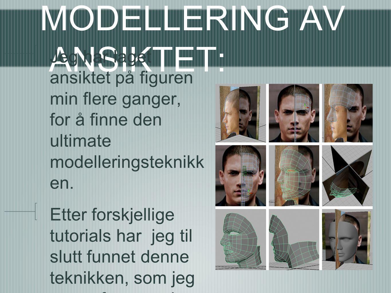 MODELLERING AV ANSIKTET: Jeg har laget ansiktet på figuren min flere ganger, for å finne den ultimate modelleringsteknikk en. Etter forskjellige tutor