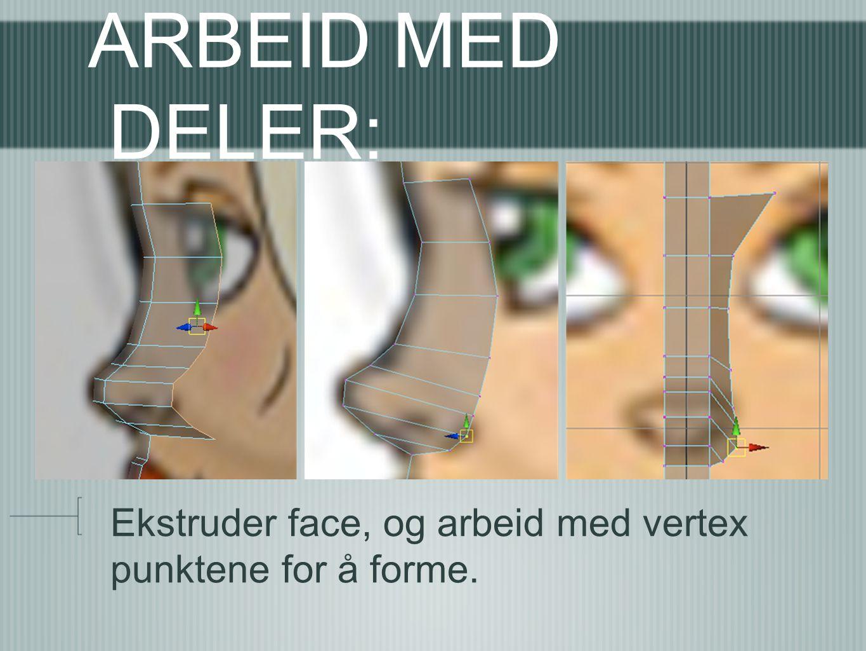 ARBEID MED DELER: Ekstruder face, og arbeid med vertex punktene for å forme.