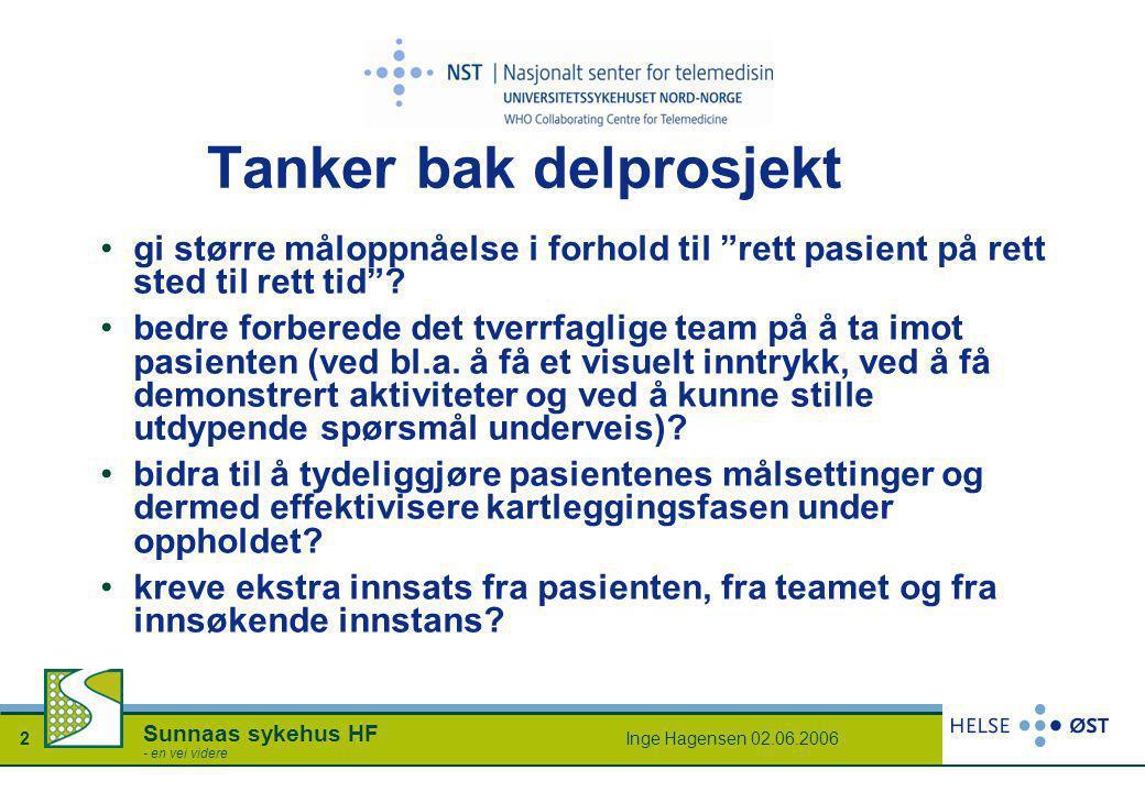Inge Hagensen 02.06.20062 Sunnaas sykehus HF - en vei videre Tanker bak delprosjekt •gi større måloppnåelse i forhold til rett pasient på rett sted til rett tid .