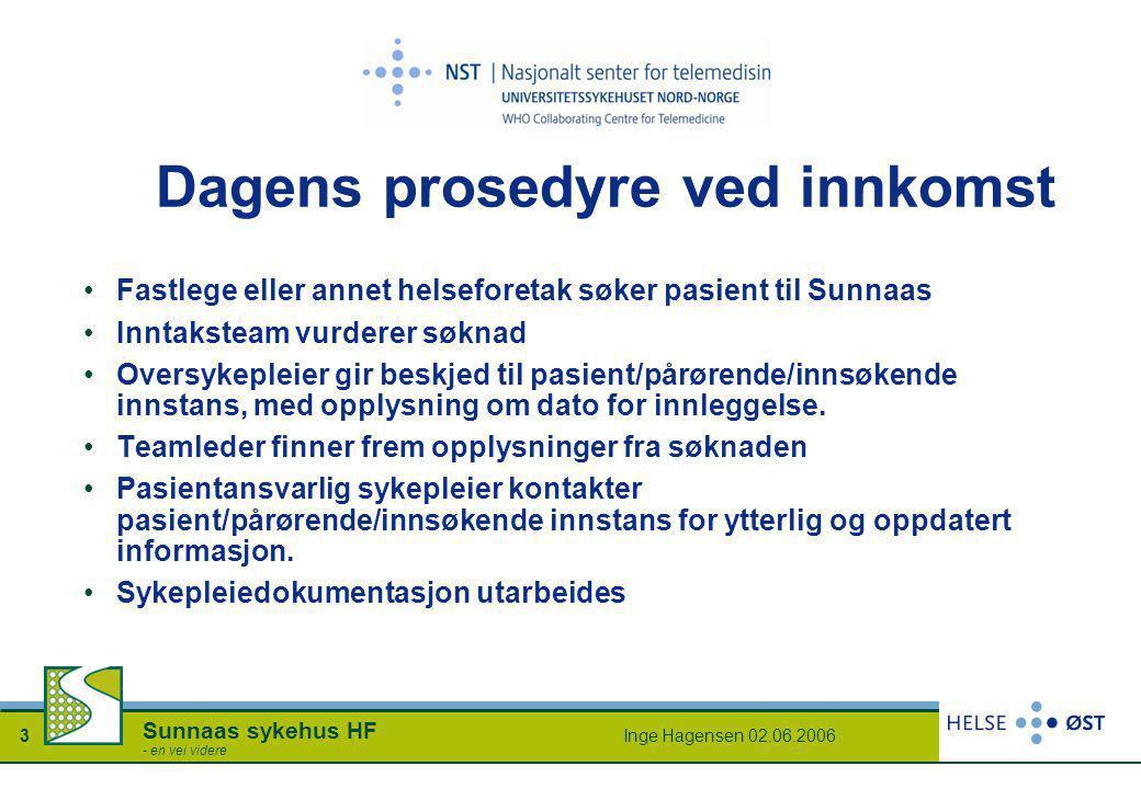 Inge Hagensen 02.06.20063 Sunnaas sykehus HF - en vei videre Dagens prosedyre ved innkomst •Fastlege eller annet helseforetak søker pasient til Sunnaa