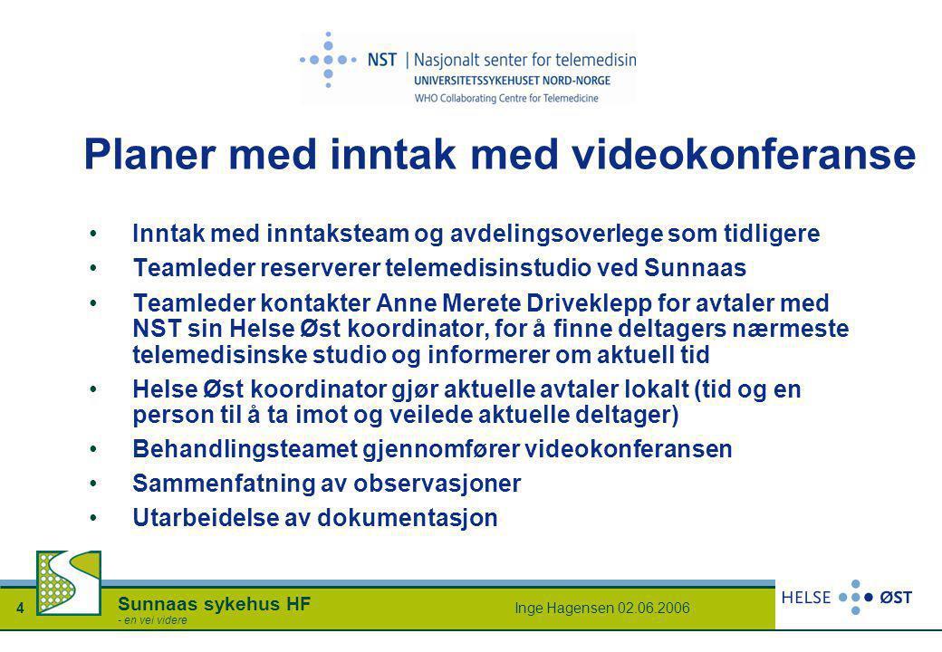 Inge Hagensen 02.06.20064 Sunnaas sykehus HF - en vei videre Planer med inntak med videokonferanse •Inntak med inntaksteam og avdelingsoverlege som ti