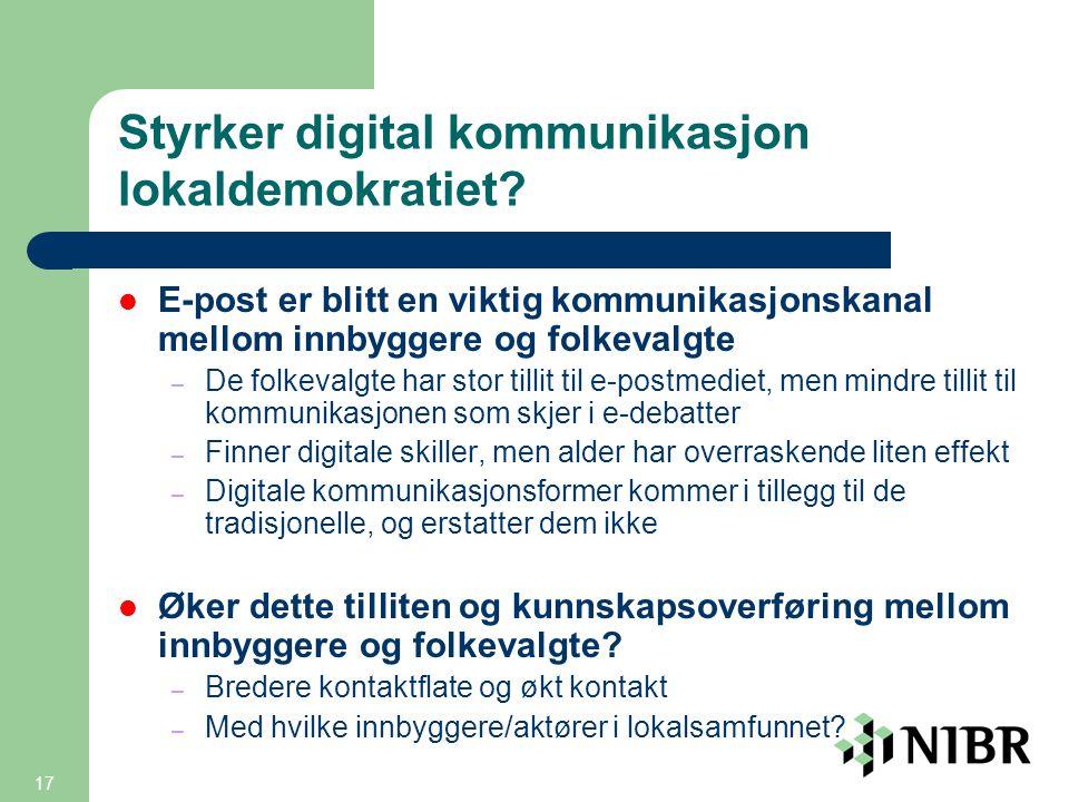 17 Styrker digital kommunikasjon lokaldemokratiet.