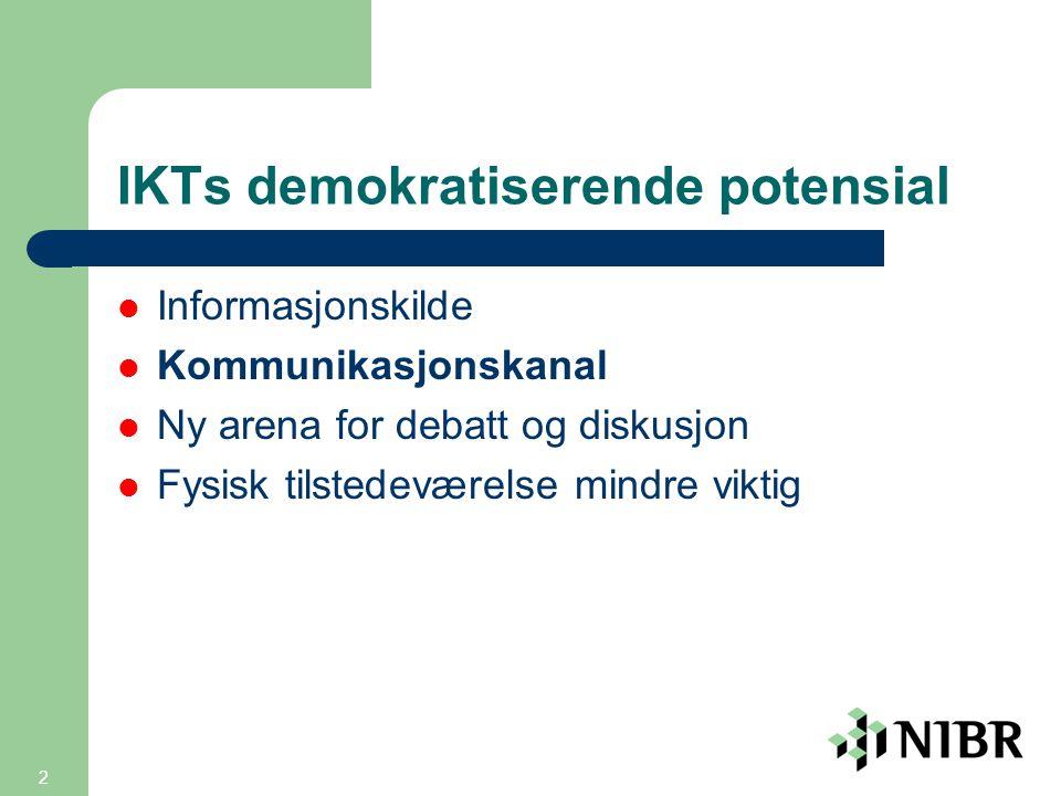 2 IKTs demokratiserende potensial  Informasjonskilde  Kommunikasjonskanal  Ny arena for debatt og diskusjon  Fysisk tilstedeværelse mindre viktig