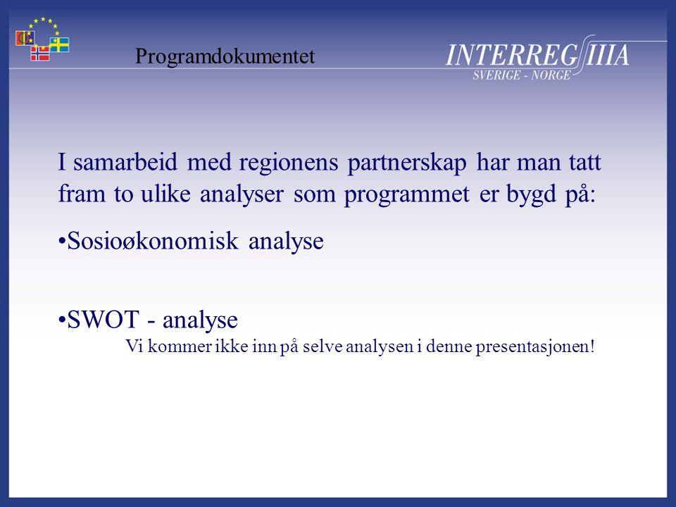 Programdokumentet I samarbeid med regionens partnerskap har man tatt fram to ulike analyser som programmet er bygd på: •Sosioøkonomisk analyse •SWOT - analyse Vi kommer ikke inn på selve analysen i denne presentasjonen!