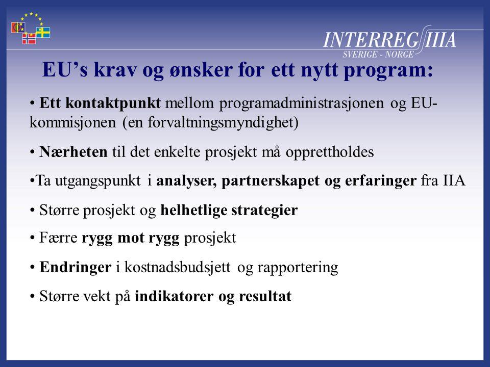 EU's krav og ønsker for ett nytt program: • Ett kontaktpunkt mellom programadministrasjonen og EU- kommisjonen (en forvaltningsmyndighet) • Nærheten til det enkelte prosjekt må opprettholdes •Ta utgangspunkt i analyser, partnerskapet og erfaringer fra IIA • Større prosjekt og helhetlige strategier • Færre rygg mot rygg prosjekt • Endringer i kostnadsbudsjett og rapportering • Større vekt på indikatorer og resultat