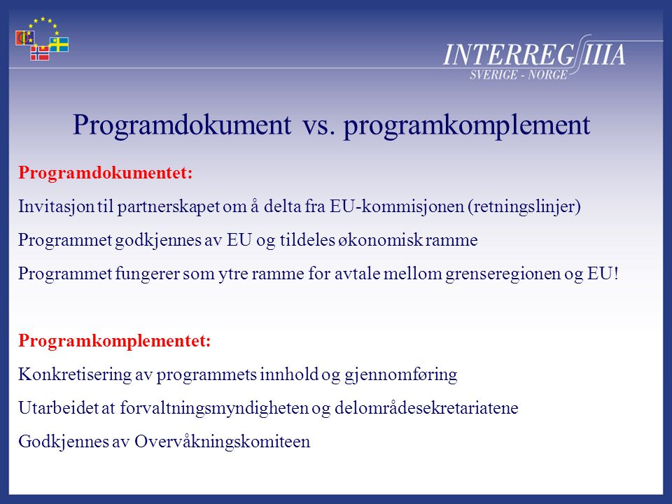 Programdokument vs.