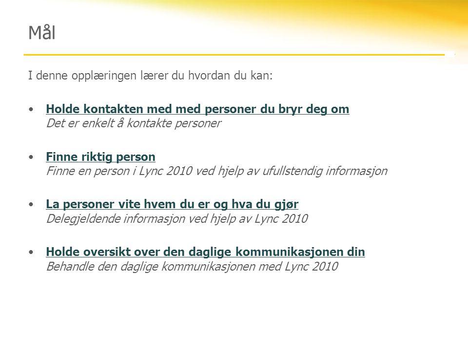 Tilgjengelighet Lync 2010 angir tilgjengeligheten automatisk basert på aktiviteten din eller Outlook-kalenderen.