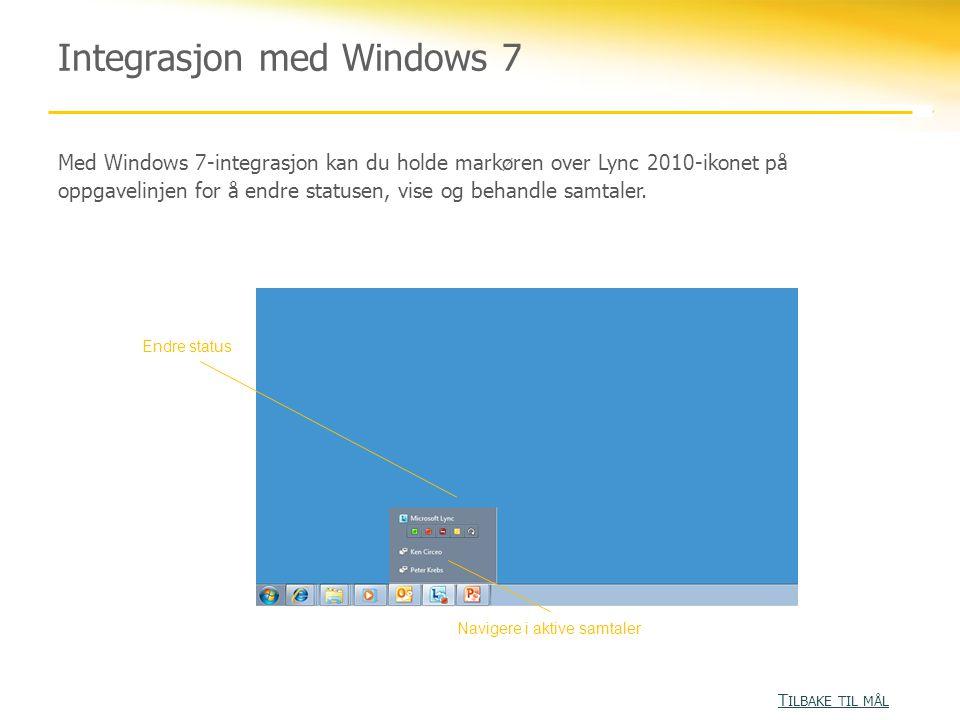 Integrasjon med Windows 7 Med Windows 7-integrasjon kan du holde markøren over Lync 2010-ikonet på oppgavelinjen for å endre statusen, vise og behandle samtaler.
