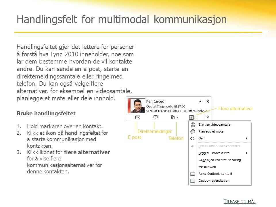 Handlingsfelt for multimodal kommunikasjon Handlingsfeltet gjør det lettere for personer å forstå hva Lync 2010 inneholder, noe som lar dem bestemme hvordan de vil kontakte andre.