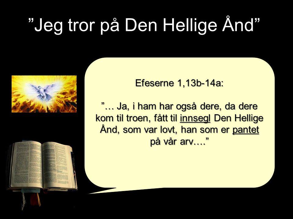 """Jeg tror på Den Hellige Ånd"" Efeserne 1,13b-14a: ""… Ja, i ham har også dere, da dere kom til troen, fått til innsegl Den Hellige Ånd, som var lovt, h"