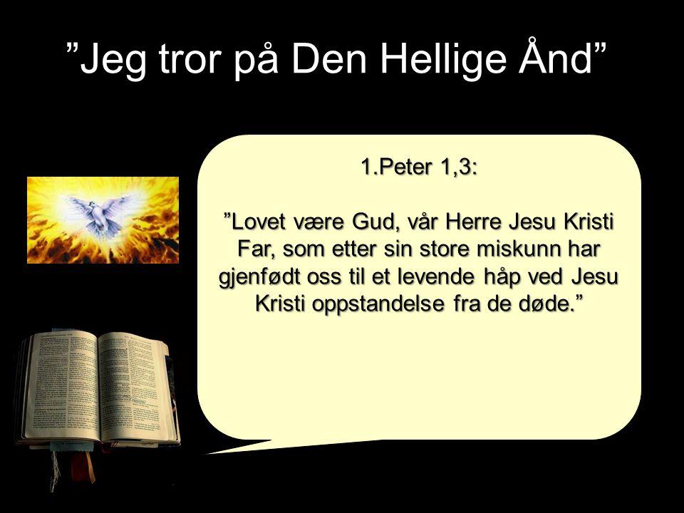 """""""Jeg tror på Den Hellige Ånd"""" 1.Peter 1,3: """"Lovet være Gud, vår Herre Jesu Kristi Far, som etter sin store miskunn har gjenfødt oss til et levende håp"""