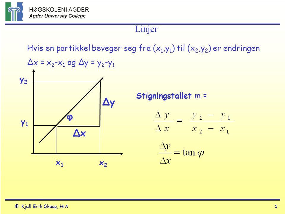 HØGSKOLEN I AGDER Agder University College © Kjell Erik Skaug, HiA1 Hvis en partikkel beveger seg fra (x 1,y 1 ) til (x 2,y 2 ) er endringen Δx = x 2