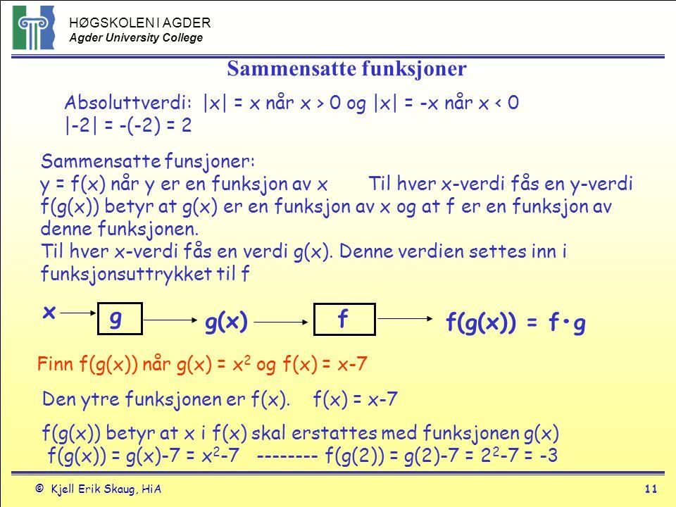 HØGSKOLEN I AGDER Agder University College © Kjell Erik Skaug, HiA11 Sammensatte funksjoner Absoluttverdi: |x| = x når x > 0 og |x| = -x når x < 0 |-2