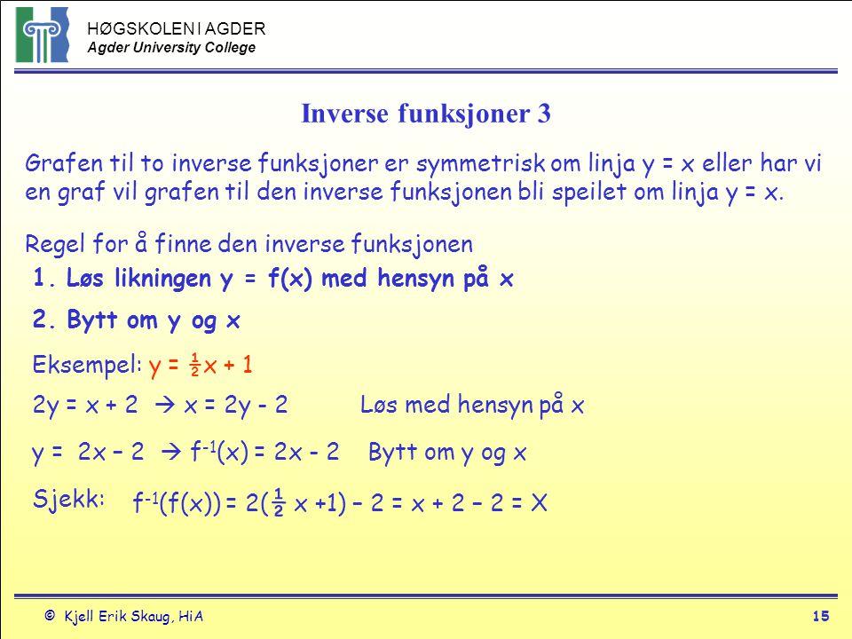 HØGSKOLEN I AGDER Agder University College © Kjell Erik Skaug, HiA15 Inverse funksjoner 3 Grafen til to inverse funksjoner er symmetrisk om linja y =