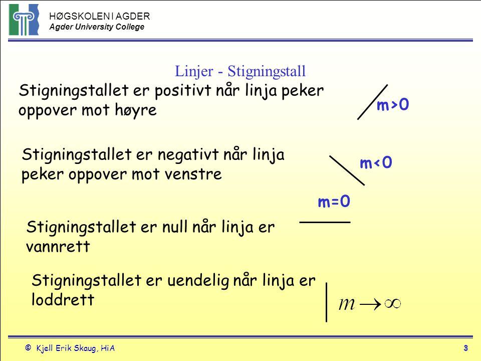 HØGSKOLEN I AGDER Agder University College © Kjell Erik Skaug, HiA4 Linjer - 4 Parallelle linjer har samme stigningstall Når to linjer med stigningstall m 1 og m 2 står normalt eller vinkelrett på hverandre er m 1 *m 2 =-1 eller m 1 =-1/m 2