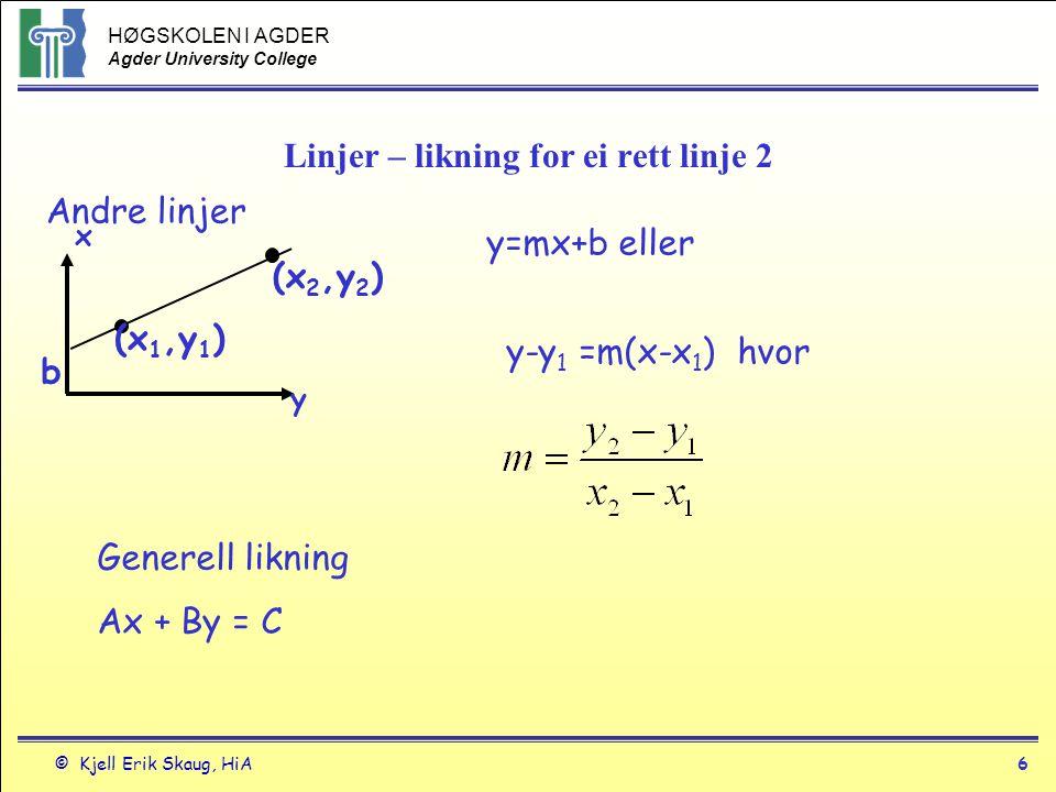 HØGSKOLEN I AGDER Agder University College © Kjell Erik Skaug, HiA7 Linjer - eksempel Eksempel 6 Skriv likningen for linjen gjennom punktet (-1,2) som er parallell til linjen y = 3x-4 Likningen er på formen: y-y 1 = m(x-x 1 ) For den oppgitte likningen er m = 3.