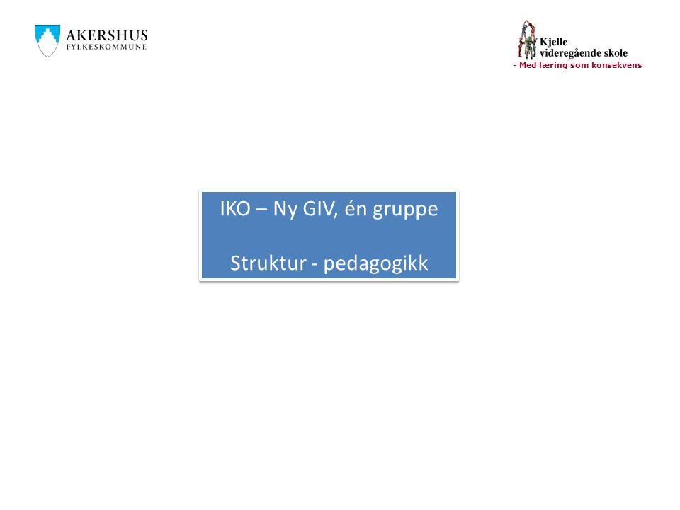 - Med læring som konsekvens IKO – Ny GIV, én gruppe Struktur - pedagogikk IKO – Ny GIV, én gruppe Struktur - pedagogikk