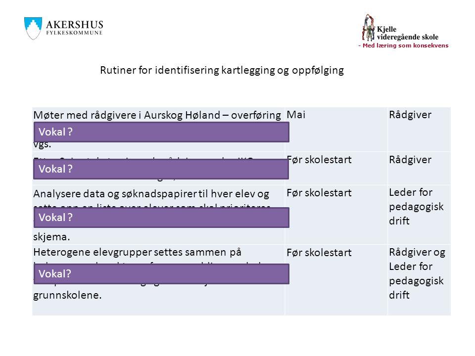 - Med læring som konsekvens Møter med rådgivere i Aurskog Høland – overføring av informasjon om IKO-elever som har søkt Kjelle vgs.
