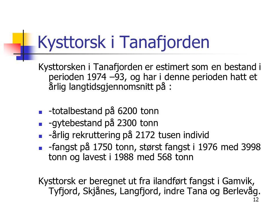 12 Kysttorsk i Tanafjorden Kysttorsken i Tanafjorden er estimert som en bestand i perioden 1974 –93, og har i denne perioden hatt et årlig langtidsgjennomsnitt på :  -totalbestand på 6200 tonn  -gytebestand på 2300 tonn  -årlig rekruttering på 2172 tusen individ  -fangst på 1750 tonn, størst fangst i 1976 med 3998 tonn og lavest i 1988 med 568 tonn Kysttorsk er beregnet ut fra ilandført fangst i Gamvik, Tyfjord, Skjånes, Langfjord, indre Tana og Berlevåg.