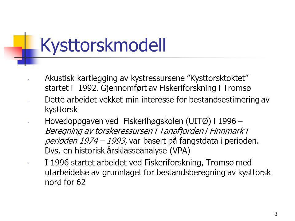 3 Kysttorskmodell - Akustisk kartlegging av kystressursene Kysttorsktoktet startet i 1992.