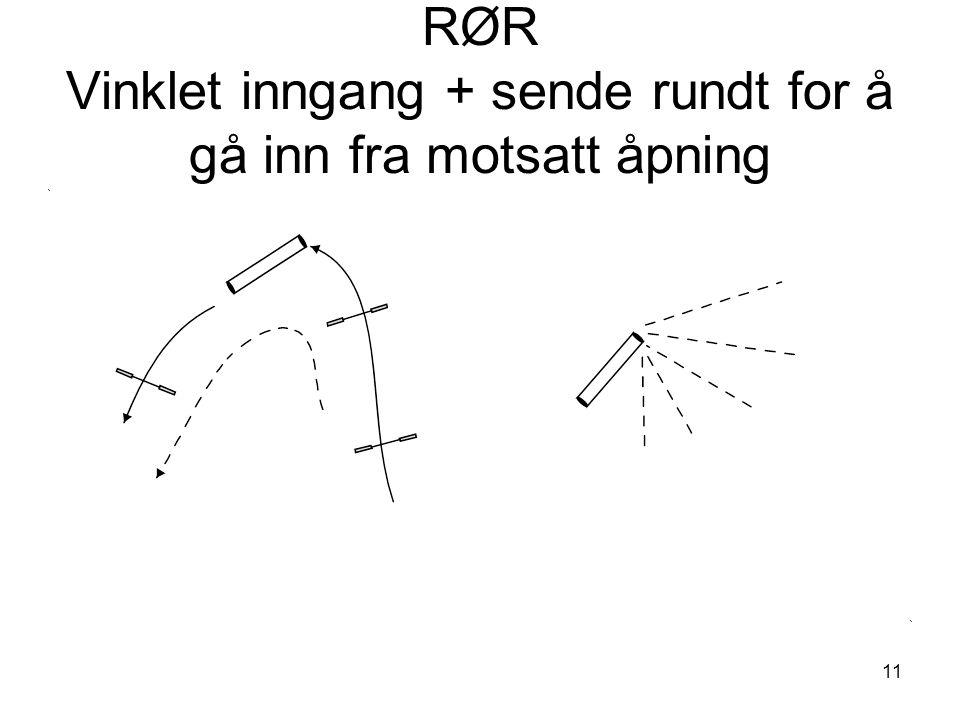 11 RØR Vinklet inngang + sende rundt for å gå inn fra motsatt åpning