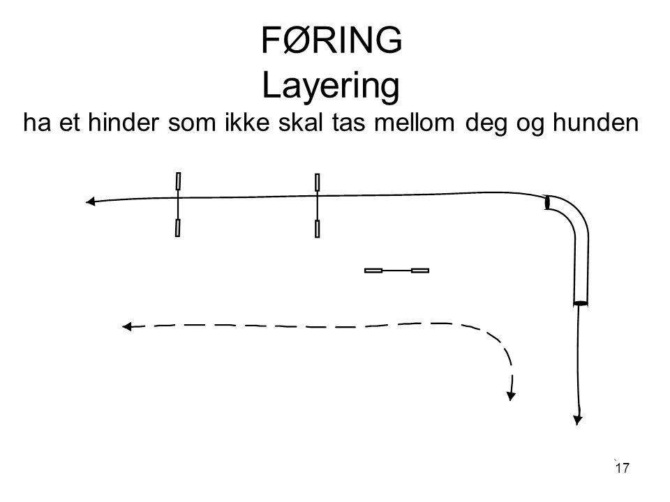 17 FØRING Layering ha et hinder som ikke skal tas mellom deg og hunden