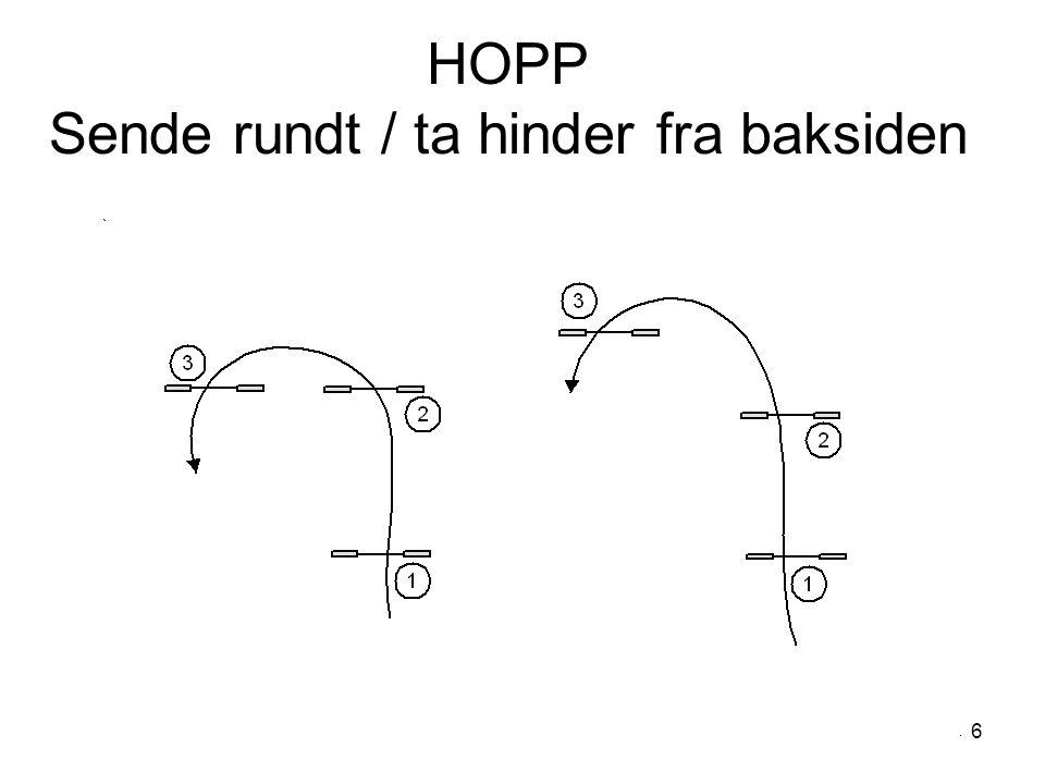 6 HOPP Sende rundt / ta hinder fra baksiden