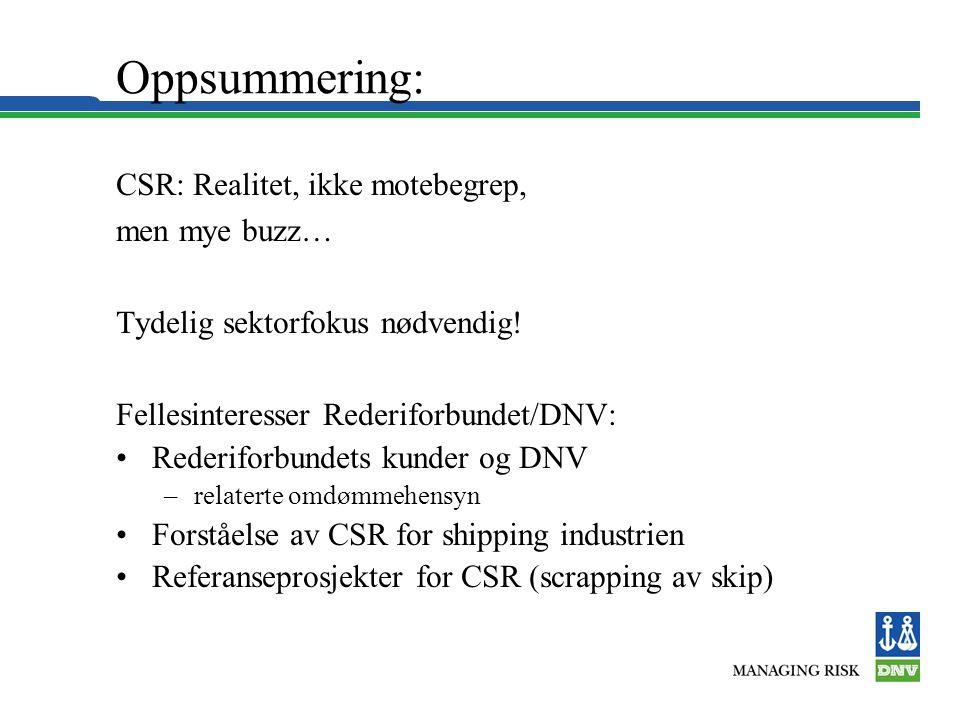 Oppsummering: CSR: Realitet, ikke motebegrep, men mye buzz… Tydelig sektorfokus nødvendig! Fellesinteresser Rederiforbundet/DNV: •Rederiforbundets kun