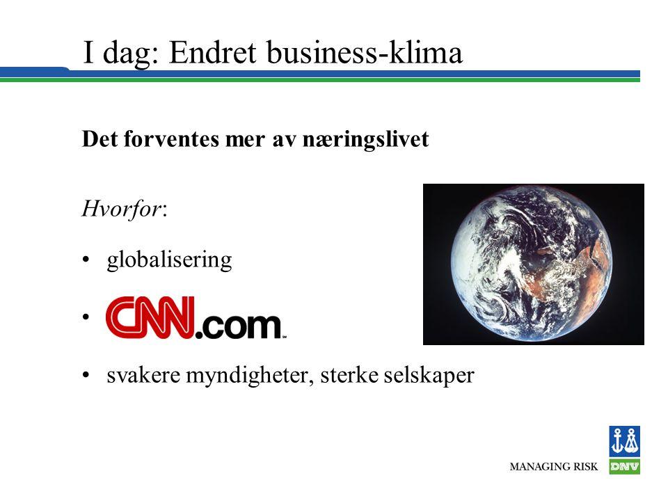 I dag: Endret business-klima Det forventes mer av næringslivet Hvorfor: •globalisering •CNN-society •svakere myndigheter, sterke selskaper
