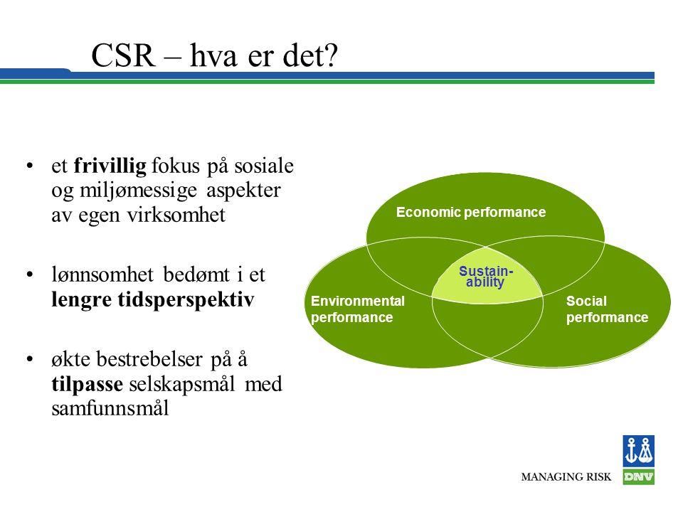 CSR – hva er det? •et frivillig fokus på sosiale og miljømessige aspekter av egen virksomhet •lønnsomhet bedømt i et lengre tidsperspektiv •økte bestr
