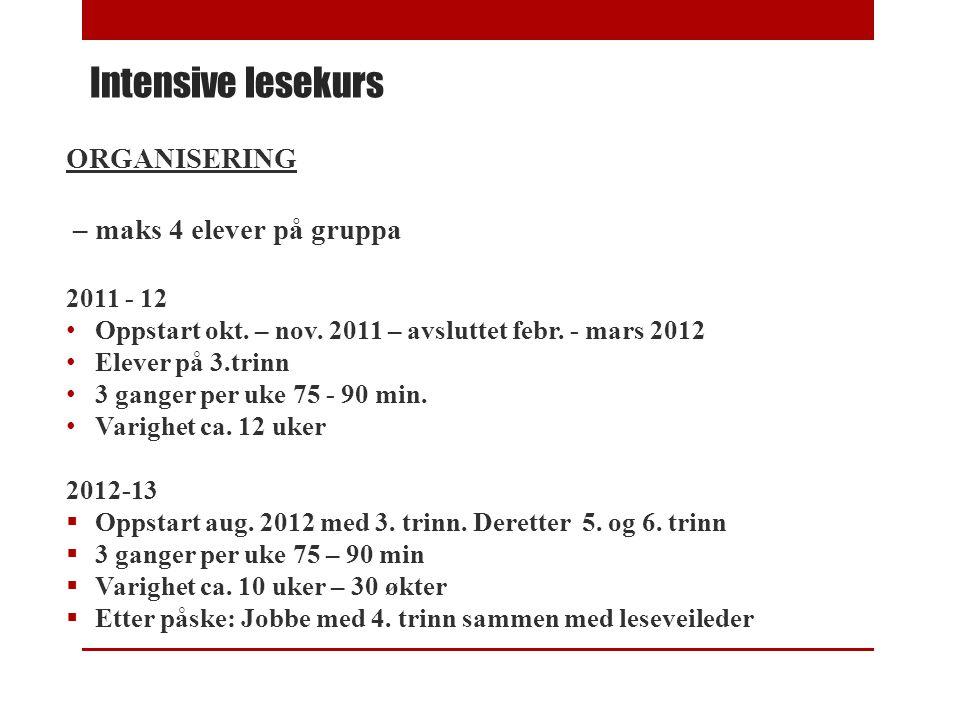 Intensive lesekurs ORGANISERING – maks 4 elever på gruppa 2011 - 12 • Oppstart okt. – nov. 2011 – avsluttet febr. - mars 2012 • Elever på 3.trinn • 3