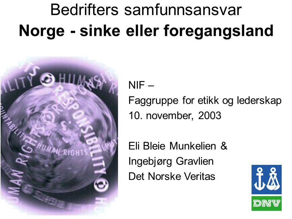 Bedrifters samfunnsansvar Norge - sinke eller foregangsland NIF – Faggruppe for etikk og lederskap 10.
