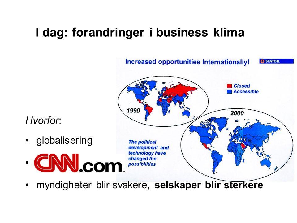I dag: forandringer i business klima Hvorfor: •globalisering •CNN-society •myndigheter blir svakere, selskaper blir sterkere
