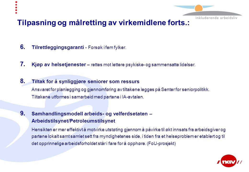 Tilpasning og målretting av virkemidlene forts.: 6. Tilrettleggingsgaranti - Forsøk i fem fylker. 7. Kjøp av helsetjenester – rettes mot lettere psyki