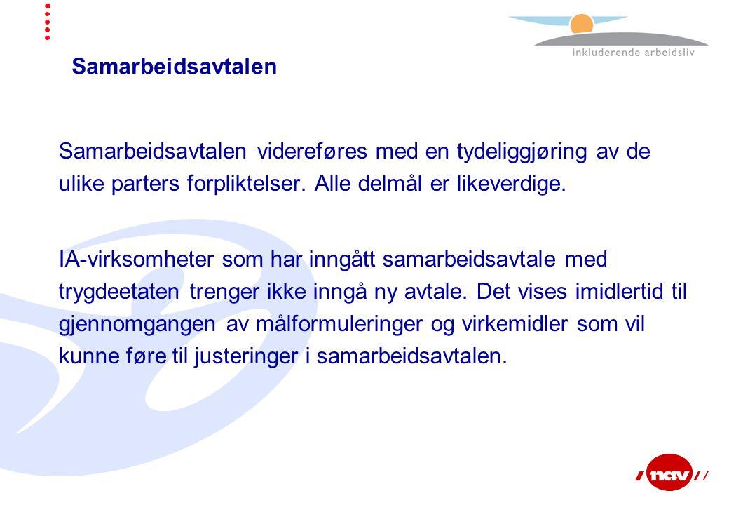 Samarbeidsavtalen Samarbeidsavtalen videreføres med en tydeliggjøring av de ulike parters forpliktelser. Alle delmål er likeverdige. IA-virksomheter s