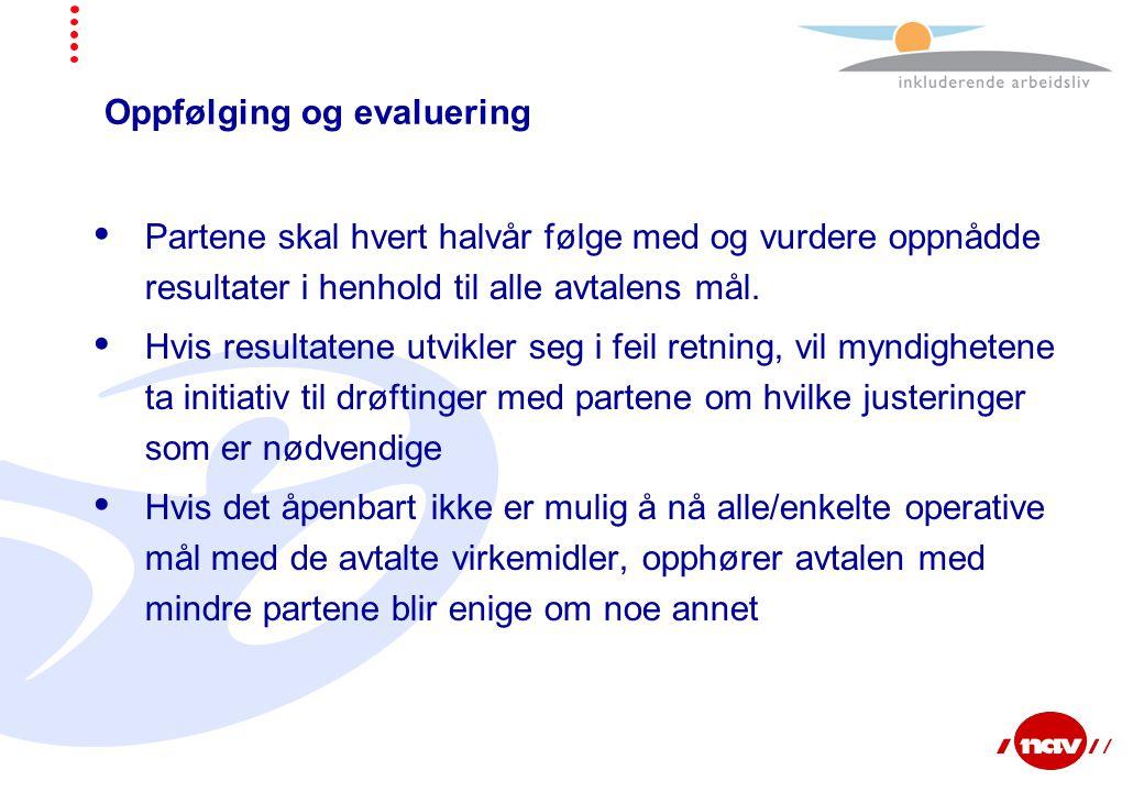 Oppfølging og evaluering  Partene skal hvert halvår følge med og vurdere oppnådde resultater i henhold til alle avtalens mål.  Hvis resultatene utvi