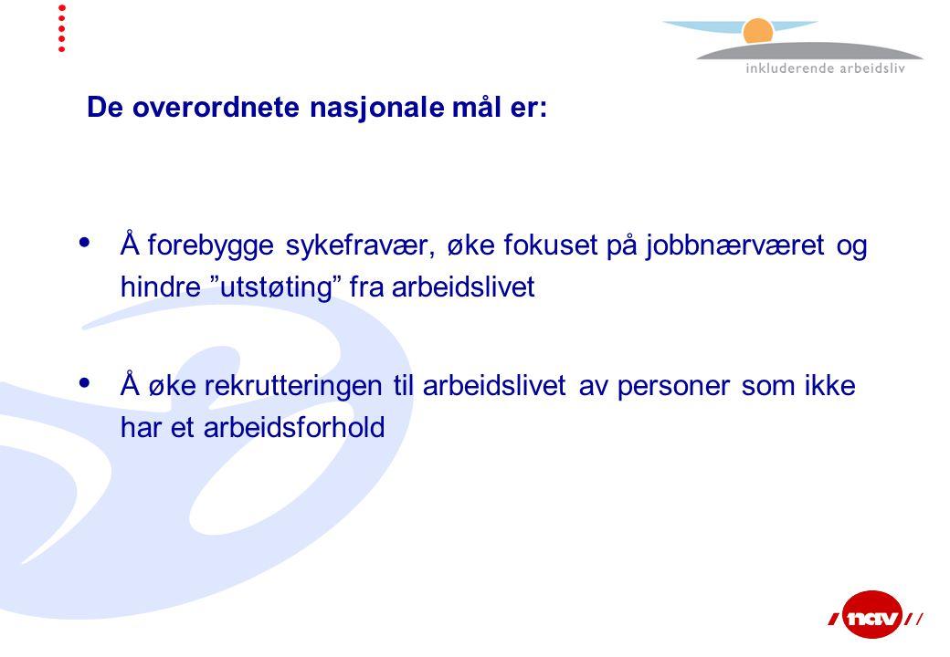 De overordnete nasjonale mål er:  Å forebygge sykefravær, øke fokuset på jobbnærværet og hindre utstøting fra arbeidslivet  Å øke rekrutteringen til arbeidslivet av personer som ikke har et arbeidsforhold