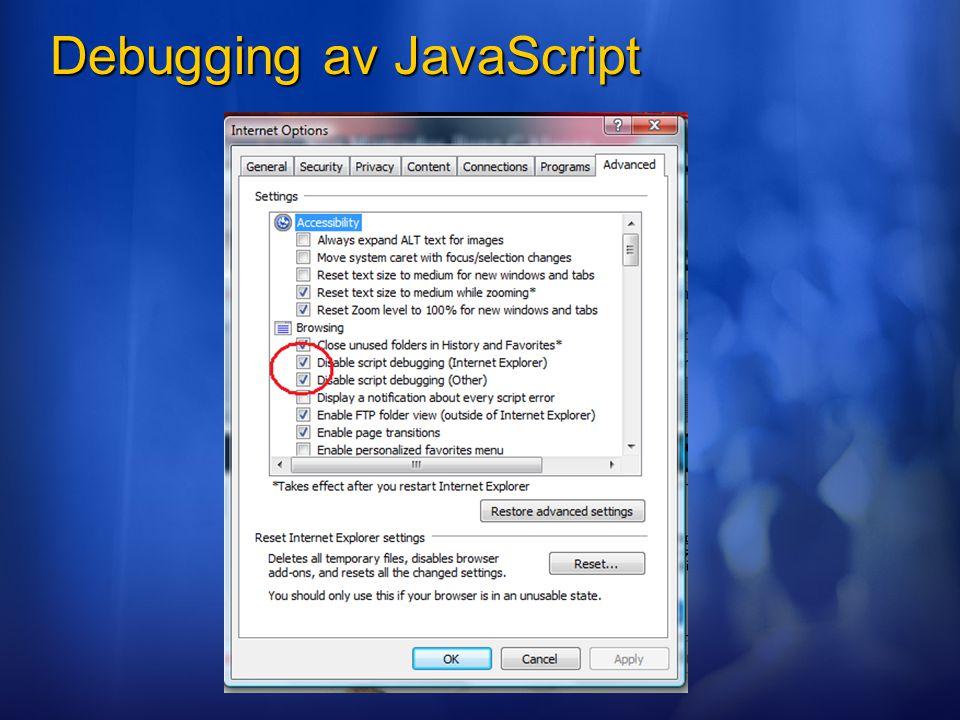 Debugging av JavaScript