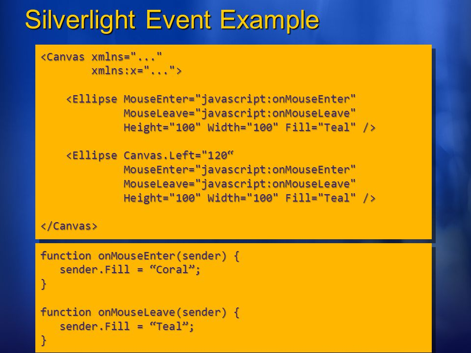 Silverlight Event Example <Canvas xmlns=
