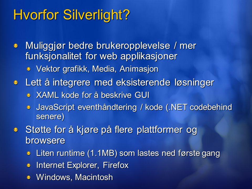 Hvorfor Silverlight? Muliggjør bedre brukeropplevelse / mer funksjonalitet for web applikasjoner Vektor grafikk, Media, Animasjon Lett å integrere med