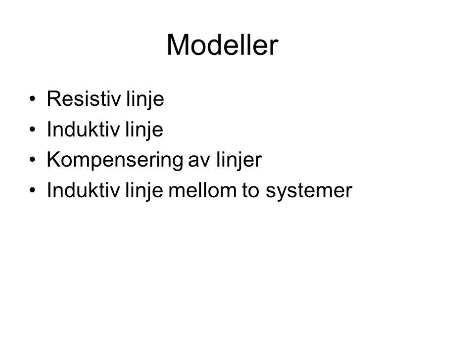 Modeller •Resistiv linje •Induktiv linje •Kompensering av linjer •Induktiv linje mellom to systemer