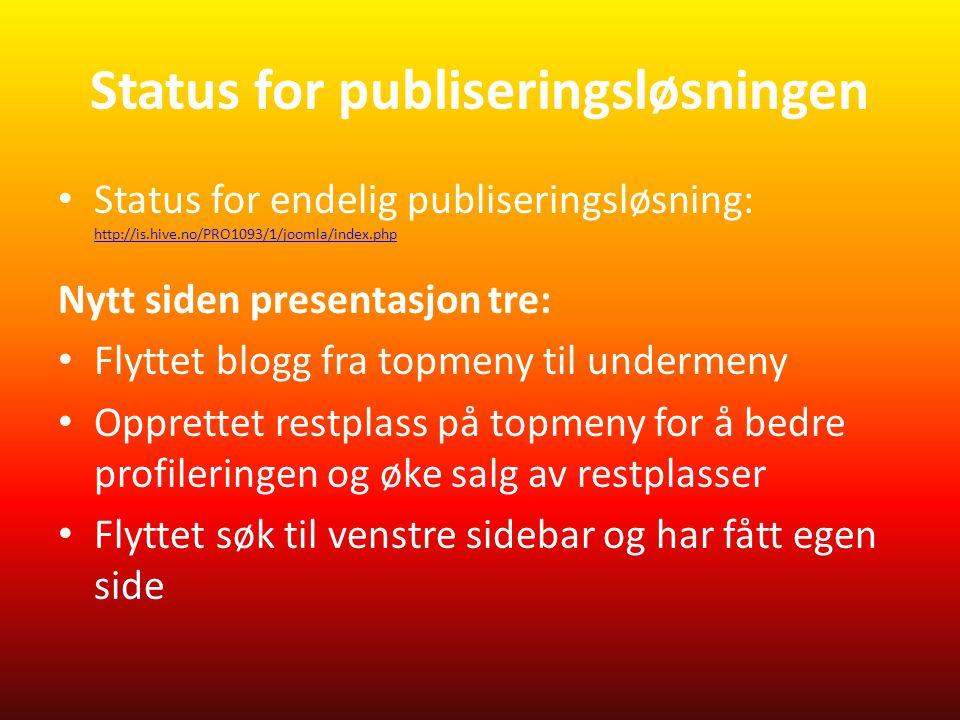 Status for publiseringsløsningen • Status for endelig publiseringsløsning: http://is.hive.no/PRO1093/1/joomla/index.php http://is.hive.no/PRO1093/1/joomla/index.php Nytt siden presentasjon tre: • Flyttet blogg fra topmeny til undermeny • Opprettet restplass på topmeny for å bedre profileringen og øke salg av restplasser • Flyttet søk til venstre sidebar og har fått egen side
