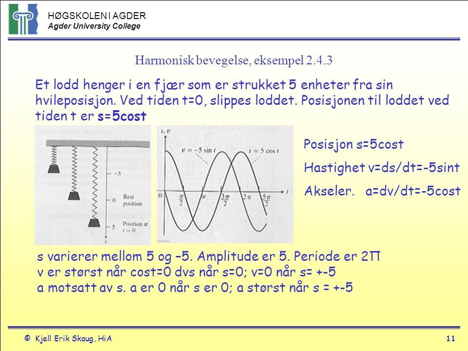 HØGSKOLEN I AGDER Agder University College © Kjell Erik Skaug, HiA10 Derivasjon- trigonometriske funksjoner f(x) = sin xdf/dx = cos x f(x) = cos xdf/dx = -sin x f(x) = tan xdf/dx = 1/cos 2 x