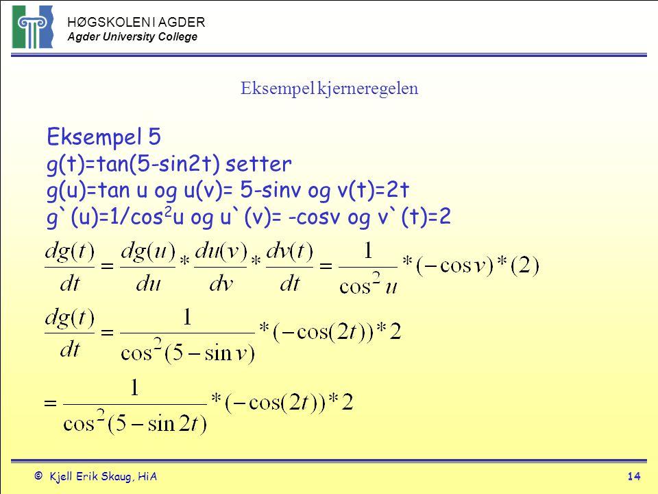 HØGSKOLEN I AGDER Agder University College © Kjell Erik Skaug, HiA13 Eksempler Eksempel 2 y=(3x 2 +1) 2 =9x 4 +6x 2 +1 y`er I y`= 36x 3 + 12x eller II y=u 2 og u= 3x 2 +1 y`= dy/du*du/dx= 2u(6x) y`= 2(3x 2 +1)6x=36x 3 +12x Eksempel 4 y=sin(x 2 +x) y=sinu og u= x 2 +x y`=dy/du*du/dx= cosu (2x+1) y`=(2x+1)cos(x 2 +x) eller rett fram y`=cos(x 2 +x)(2x+1) a b c a derivert av ytre funksjon b indre funksjon uendret c derivert av indre funksjon