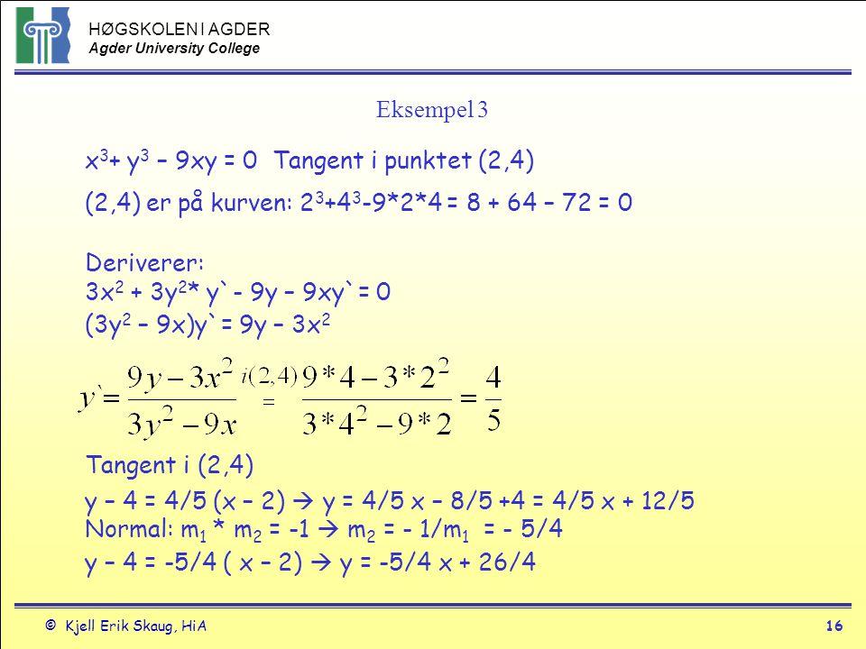 HØGSKOLEN I AGDER Agder University College © Kjell Erik Skaug, HiA15 Implisitt derivasjon Implisitt derivasjon brukes når funksjonsuttrykket inneholder uttrykk med både x og y.